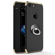 Custodia Lusso Metallo Laterale e Plastica con Anello Supporto per Apple iPhone 8 Nero
