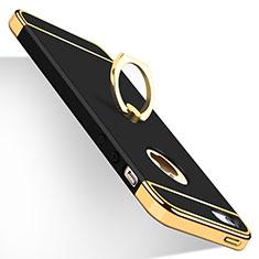 Custodia Lusso Metallo Laterale e Plastica con Anello Supporto per Apple iPhone SE Nero