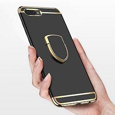 Custodia Lusso Metallo Laterale e Plastica con Anello Supporto per Huawei Honor 10 Nero