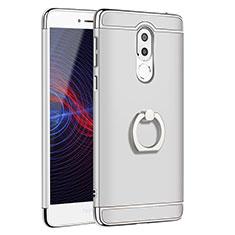 Custodia Lusso Metallo Laterale e Plastica con Anello Supporto per Huawei Honor 6X Pro Argento