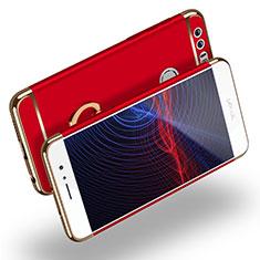 Custodia Lusso Metallo Laterale e Plastica con Anello Supporto per Huawei Honor 8 Rosso