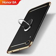 Custodia Lusso Metallo Laterale e Plastica con Anello Supporto per Huawei Honor 8A Nero