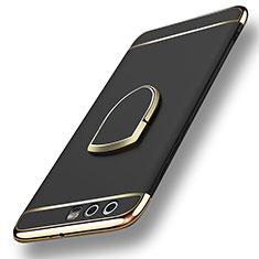 Custodia Lusso Metallo Laterale e Plastica con Anello Supporto per Huawei Honor 9 Premium Nero