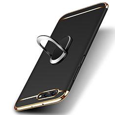 Custodia Lusso Metallo Laterale e Plastica con Anello Supporto per Huawei Honor V10 Nero