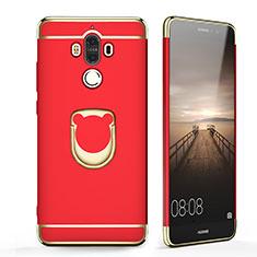 Custodia Lusso Metallo Laterale e Plastica con Anello Supporto per Huawei Mate 9 Rosso