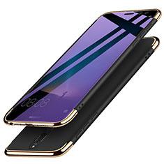 Custodia Lusso Metallo Laterale e Plastica con Anello Supporto per Huawei Nova 2i Nero