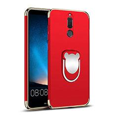 Custodia Lusso Metallo Laterale e Plastica con Anello Supporto per Huawei Nova 2i Rosso