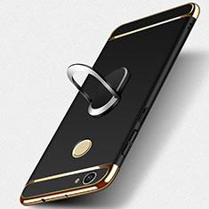 Custodia Lusso Metallo Laterale e Plastica con Anello Supporto per Huawei Nova Nero