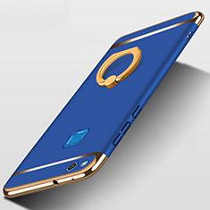Custodia Lusso Metallo Laterale e Plastica con Anello Supporto per Huawei P9 Lite (2017) Blu