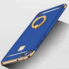 Custodia Lusso Metallo Laterale e Plastica con Anello Supporto per Huawei P9 Lite Blu