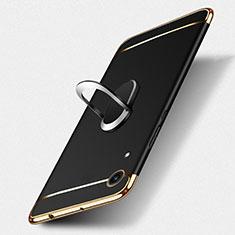 Custodia Lusso Metallo Laterale e Plastica con Anello Supporto per Huawei Y6s Nero