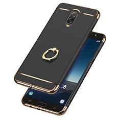 Custodia Lusso Metallo Laterale e Plastica con Anello Supporto per Samsung Galaxy C8 C710F Nero