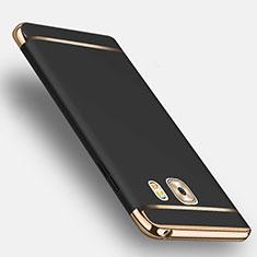 Custodia Lusso Metallo Laterale e Plastica con Anello Supporto per Samsung Galaxy C9 Pro C9000 Nero