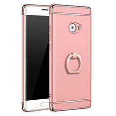 Custodia Lusso Metallo Laterale e Plastica con Anello Supporto per Xiaomi Mi Note 2 Special Edition Oro Rosa