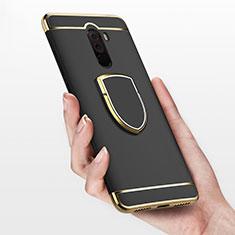 Custodia Lusso Metallo Laterale e Plastica con Anello Supporto per Xiaomi Pocophone F1 Nero