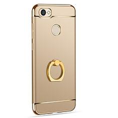 Custodia Lusso Metallo Laterale e Plastica con Anello Supporto per Xiaomi Redmi Note 5A High Edition Oro