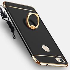 Custodia Lusso Metallo Laterale e Plastica con Anello Supporto per Xiaomi Redmi Note 5A Pro Nero