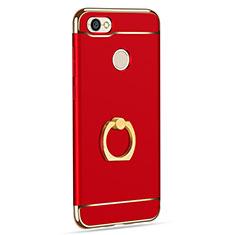 Custodia Lusso Metallo Laterale e Plastica con Anello Supporto per Xiaomi Redmi Note 5A Pro Rosso