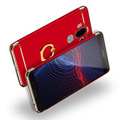 Custodia Lusso Metallo Laterale e Plastica con Anello Supporto Q04 per Huawei Mate 9 Rosso