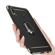 Custodia Lusso Metallo Laterale e Plastica con Magnetico Anello Supporto per Huawei P Smart+ Plus Nero