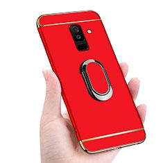 Custodia Lusso Metallo Laterale e Plastica con Magnetico Anello Supporto per Samsung Galaxy A6 Plus (2018) Rosso
