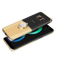 Custodia Lusso Metallo Laterale e Plastica con Magnetico Anello Supporto per Samsung Galaxy S8 Plus Oro