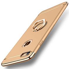 Custodia Lusso Metallo Laterale e Plastica Cover con Anello Supporto A01 per Apple iPhone 7 Oro