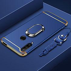 Custodia Lusso Metallo Laterale e Plastica Cover con Anello Supporto A01 per Huawei Enjoy 10 Plus Blu