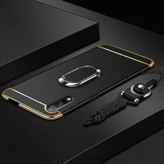 Custodia Lusso Metallo Laterale e Plastica Cover con Anello Supporto A01 per Huawei Honor 9X Nero