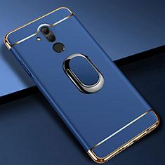 Custodia Lusso Metallo Laterale e Plastica Cover con Anello Supporto A01 per Huawei Mate 20 Lite Blu