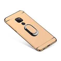 Custodia Lusso Metallo Laterale e Plastica Cover con Anello Supporto A01 per Huawei Mate 20 Oro