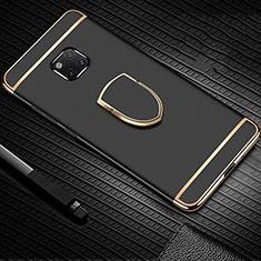 Custodia Lusso Metallo Laterale e Plastica Cover con Anello Supporto A01 per Huawei Mate 20 Pro Nero