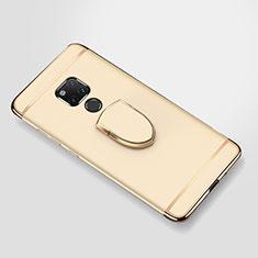 Custodia Lusso Metallo Laterale e Plastica Cover con Anello Supporto A01 per Huawei Mate 20 X 5G Oro