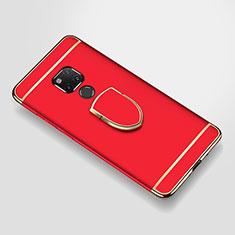 Custodia Lusso Metallo Laterale e Plastica Cover con Anello Supporto A01 per Huawei Mate 20 X 5G Rosso