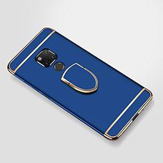 Custodia Lusso Metallo Laterale e Plastica Cover con Anello Supporto A01 per Huawei Mate 20 X Blu