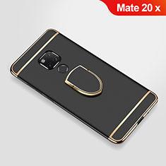 Custodia Lusso Metallo Laterale e Plastica Cover con Anello Supporto A01 per Huawei Mate 20 X Nero
