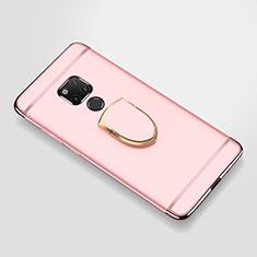 Custodia Lusso Metallo Laterale e Plastica Cover con Anello Supporto A01 per Huawei Mate 20 X Oro Rosa