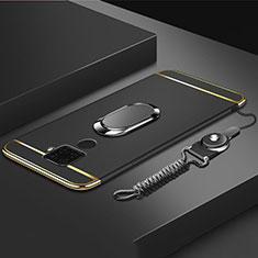 Custodia Lusso Metallo Laterale e Plastica Cover con Anello Supporto A01 per Huawei Mate 30 Lite Nero