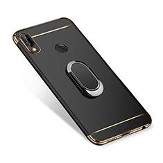 Custodia Lusso Metallo Laterale e Plastica Cover con Anello Supporto A01 per Huawei P Smart+ Plus Nero