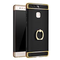 Custodia Lusso Metallo Laterale e Plastica Cover con Anello Supporto A01 per Huawei P9 Plus Nero