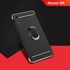 Custodia Lusso Metallo Laterale e Plastica Cover con Anello Supporto A01 per Huawei Y6 Pro (2019) Nero