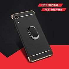 Custodia Lusso Metallo Laterale e Plastica Cover con Anello Supporto A01 per Huawei Y6s Nero