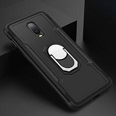 Custodia Lusso Metallo Laterale e Plastica Cover con Anello Supporto A01 per OnePlus 6T Nero