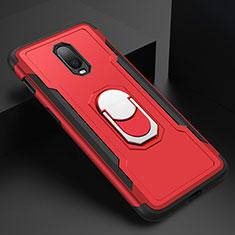 Custodia Lusso Metallo Laterale e Plastica Cover con Anello Supporto A01 per OnePlus 6T Rosso