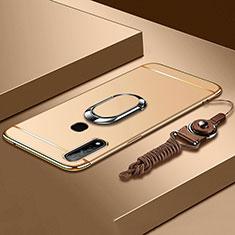 Custodia Lusso Metallo Laterale e Plastica Cover con Anello Supporto A01 per Oppo A31 Oro