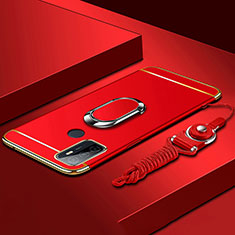 Custodia Lusso Metallo Laterale e Plastica Cover con Anello Supporto A01 per Oppo A33 Rosso