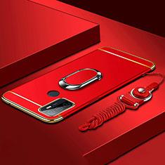 Custodia Lusso Metallo Laterale e Plastica Cover con Anello Supporto A01 per Oppo A53s Rosso
