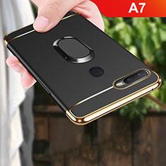 Custodia Lusso Metallo Laterale e Plastica Cover con Anello Supporto A01 per Oppo A7 Nero