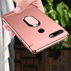 Custodia Lusso Metallo Laterale e Plastica Cover con Anello Supporto A01 per Oppo A7 Oro Rosa