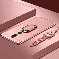 Custodia Lusso Metallo Laterale e Plastica Cover con Anello Supporto A01 per Oppo A9 Oro Rosa